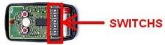 telecommande NICE FLO2 intérieur: vérifiez la présence d'une barrette de switchs dans votre télécommande pour ne pas vous tromper de modèle