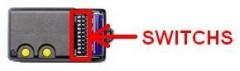 TELECOMMANDE BFT TO2 à switchs: vue de l'intérieur